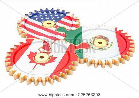 North American Union concept. 3D rendering isolated on white background