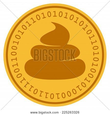 Crap golden digital coin icon. Vector style is a gold yellow flat coin cryptocurrency symbol.
