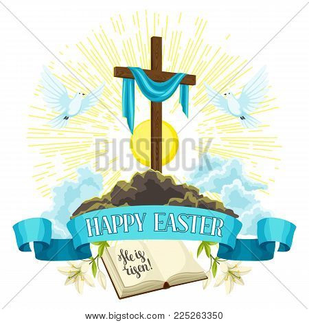 Wooden cross with shroud, bible and doves. Happy Easter concept illustration or greeting card. Religious symbols of faith.