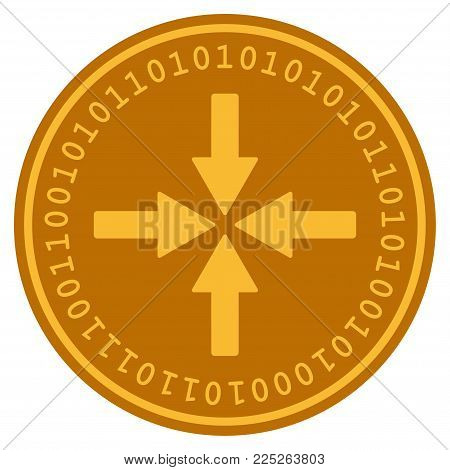 Collide Arrows golden digital coin icon. Vector style is a gold yellow flat coin cryptocurrency symbol.