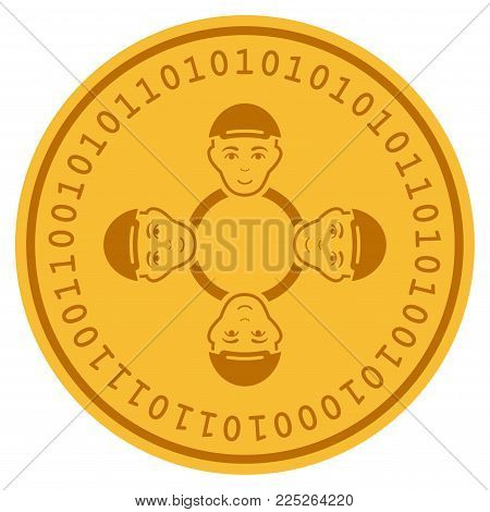 User Collaboration Network golden digital coin icon. Vector style is a gold yellow flat coin cryptocurrency symbol.
