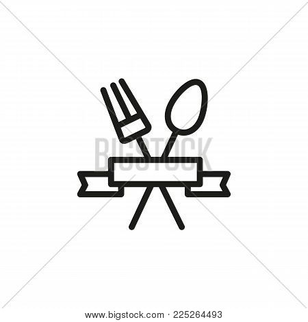 Icon of crossed spoon and fork. Serving, ribbon, logo. Restaurant concept. Can be used for topics like restaurant, cafe, logotype.