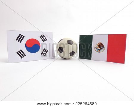 South Korean and Mexican flag with football ball isloated on white background