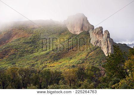 Autumn image of the volcanic dikes on West Spanish Peak near La Veta, Coorado