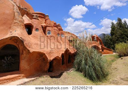 Villa De Leyva, Colombia - February 8, 2017 : Casa Terracota House architect Octavio Mendoza was built using clay and baked in the sun in Villa de Leyva Boyaca in Colombia South America