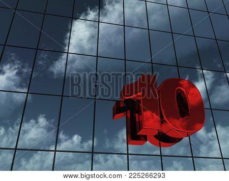 Number Ten On Glass Building - 3d Rendering
