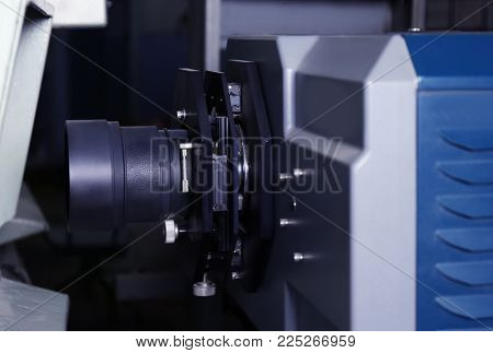 Film projector in cinema, closeup