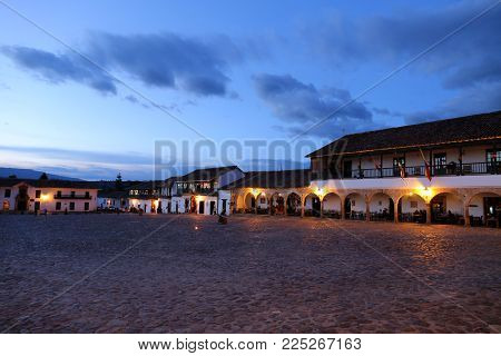 Villa de Leyva plaza, Square in Villa de Leyva, Colombia - Sept 2015