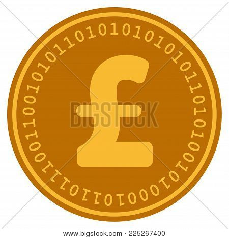 Pound Sterling golden digital coin icon. Vector style is a gold yellow flat coin cryptocurrency symbol.