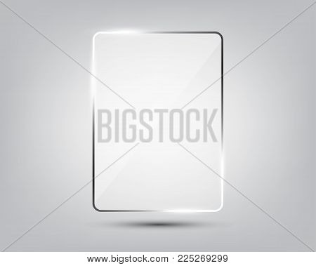 Glass plate on gradient background. See through mock up square shape. Vector elements with glares and highlights. Realistic glossy rectangle, plate, framework, plane illustration
