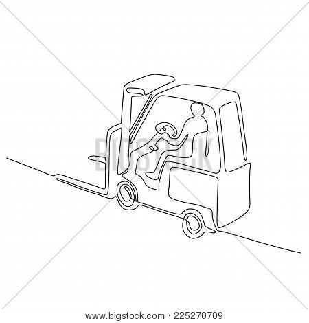 Continuous line drawing illustration of a warehouse operator driver driving a forklift truck viewed from high angle done in sketch or doodle style.