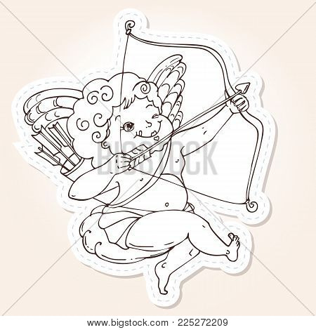 Angel or cupid for holidays Valentine's Day in hand drawn style. Angel sitting on a cloud and takes aim at a target with an arrow. Vector template for stickers, wedding invitation, card, background.