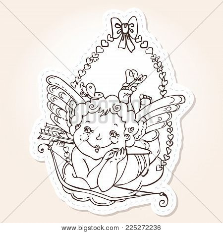 Angel or cupid for holidays Valentine's Day in hand drawn style. Angel with butterflies on a cloud with arrows and bow. Vector template for stickers, wedding invitation, card, background.