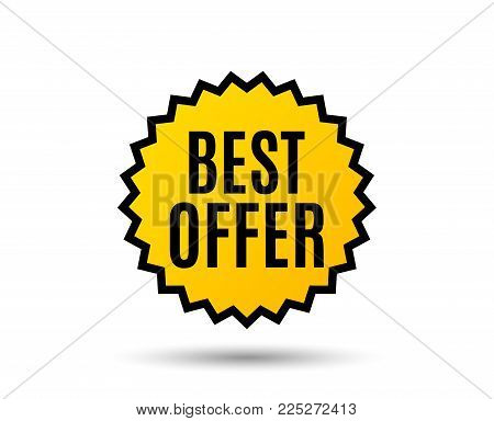 Best offer. Special price Sale sign. Advertising Discounts symbol. Star button. Graphic design element. Vector
