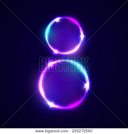 Two neon glowing circles. Decoration for international womens day 8 march. Bright banner on dark blue backdrop. Greeting card for women day design. Neon colorful vector illustration with flash light.