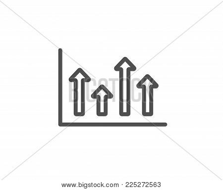 Growth chart line icon. Financial graph sign. Upper Arrows symbol. Business investment. Quality design element. Editable stroke. Vector
