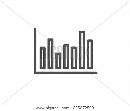 Column chart line icon. Financial graph sign. Stock exchange symbol. Business investment. Quality design element. Editable stroke. Vector