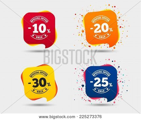 Sale discount icons. Special offer stamp price signs. 10, 20, 25 and 30 percent off reduction symbols. Speech bubbles or chat symbols. Colored elements. Vector