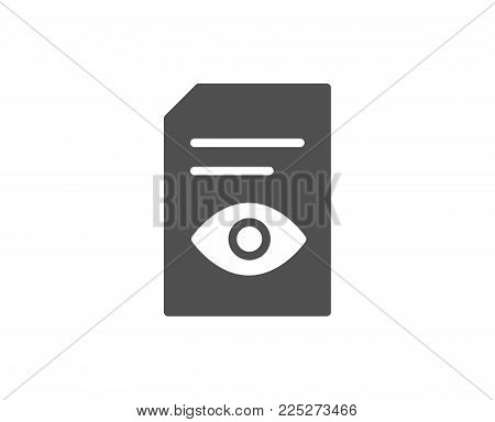 View Document simple icon. Open Information File sign. Paper page with Eye concept symbol. Quality design elements. Classic style. Vector