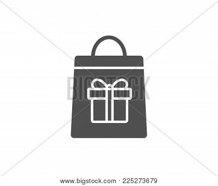Shopping bag with Gift box simple icon. Present or Sale sign. Birthday Shopping symbol. Package in Gift Wrap. Quality design elements. Classic style. Vector