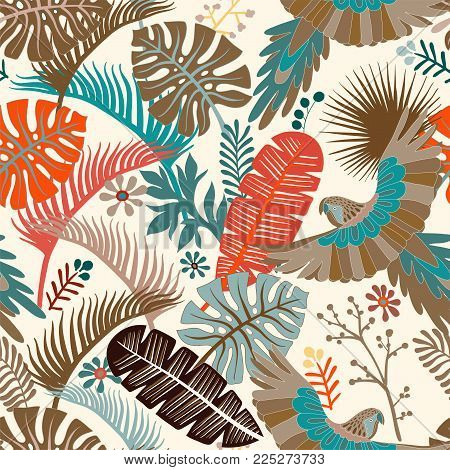Vector seamless pattern with palm leaves and parrots. Vector tropical wallpaper. Bright botanical backdrop