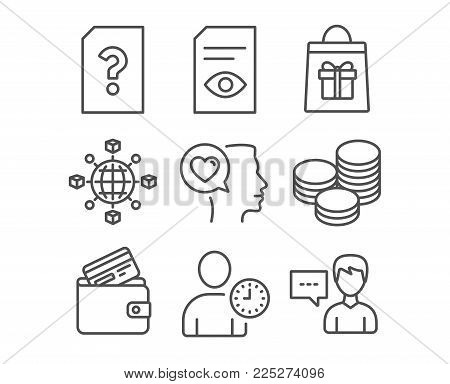 Set of View document, Unknown file and Tips icons. Holidays shopping, Time management and Debit card signs. Romantic talk, Logistics network and Person talk symbols. Vector