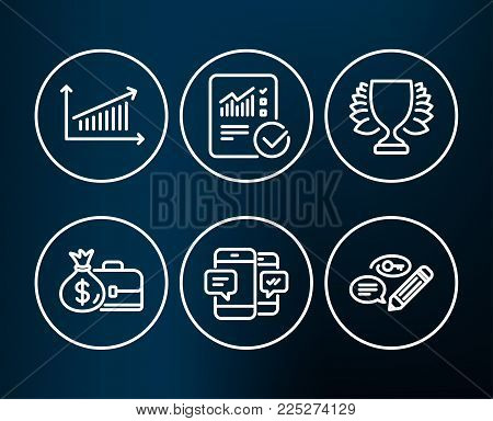 Set of Smartphone sms, Chart and Salary icons. Checked calculation, Winner and Keywords signs. Mobile messages, Presentation chart, Diplomat with money bag. Vector