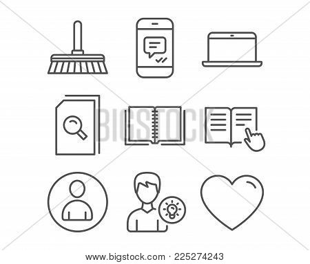 Set of Message, Search files and Laptop icons. Cleaning mop, Read instruction and Avatar signs. Person idea, Book and Heart symbols. Phone messenger. Magnifying glass. Mobile computer. Sweep a floor