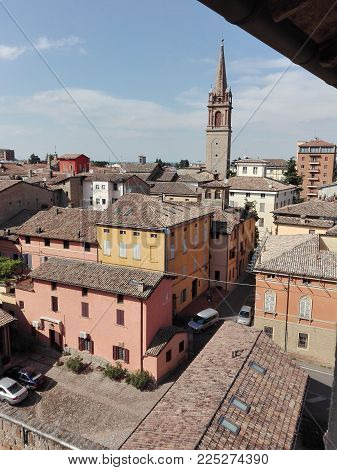 Church Tower in historic city center of Vignola, Italy