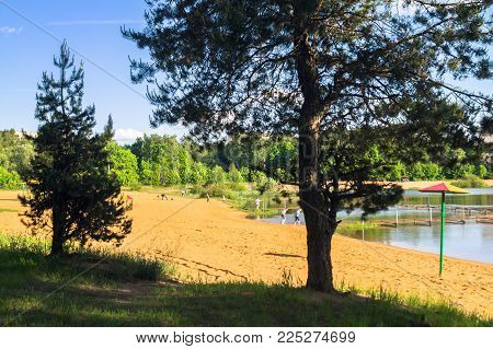 Summer view of the sandy lakeshore in suburban residential district. Moscow region, Zarya district, Balashikha. poster