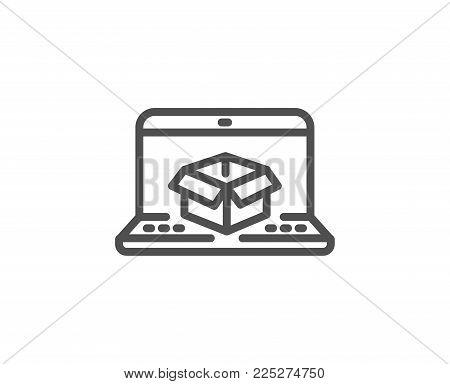 Online delivery line icon. Parcel tracking sign. Logistics website symbol. Quality design element. Editable stroke. Vector