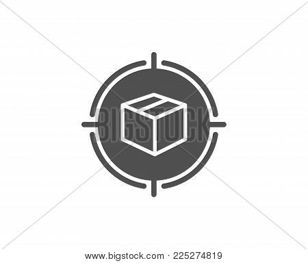 Parcel tracking simple icon. Delivery monitoring sign. Shipping box in target symbol. Quality design elements. Classic style. Vector