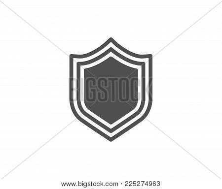 Shield simple icon. Protection or Security sign. Defence or Guard symbol. Quality design elements. Classic style. Vector