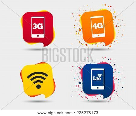 Mobile telecommunications icons. 3G, 4G and LTE technology symbols. Wi-fi Wireless and Long-Term evolution signs. Speech bubbles or chat symbols. Colored elements. Vector