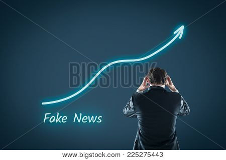 Fake news concept. Politician is horrified by increasing number of fake news on internet.