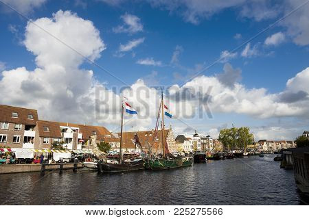 Netherlands Leiden Galgewater 3 October 2017, A Bright Blue Sunny Day And White Clouds And Old Big B