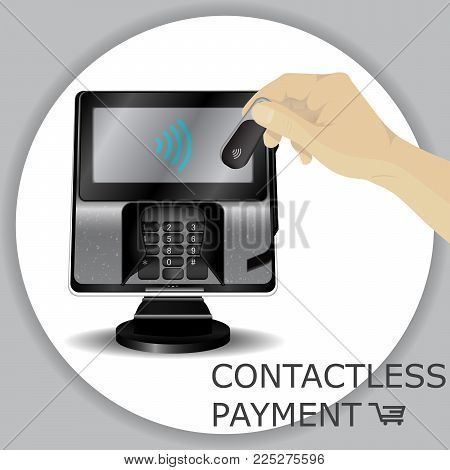 Hand holding wireless, contactless fob, keychain for payments through wifi pos terminals. Pay fob keychain key ring with tap-and-pay system. Pay transport, food, drinks, coffee. Vector