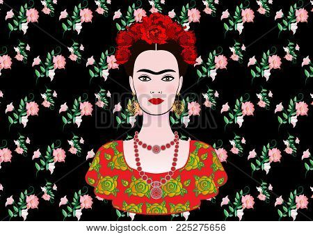 Frida Kahlo vector portrait , young beautiful mexican woman with a traditional hairstyle,  Mexican crafts jewelry and dress, vector isolated or black floral background