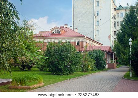 Moscow, Russia - July 28,  2017: House-Museum M.S. Shchepkin, wooden building, built in the late 18th -- early 19th centuries, Shchepkin Street, 47, building 2, is a branch of the Theatre Museum named A.A. Bakhrushin in Moscow.