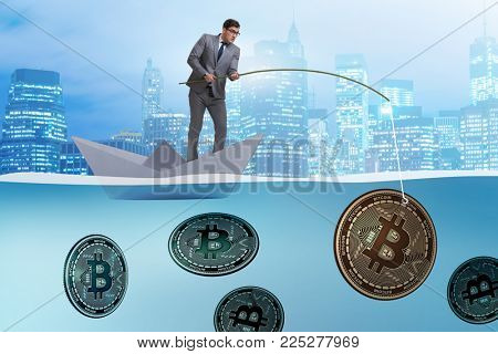 Businessman fishing bitcoins in cryptocurrency mining concept