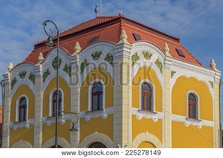 Architectural details on a historic building in Salonta, Bihor, Romania.