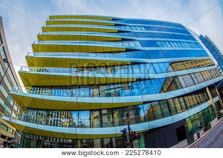 LONDON, ENGLAND - NOVEMBER 27, 2017: Wide angle shot of futuristic office building in Central London.