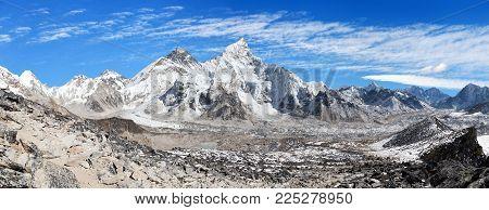 Panoramic view of himalayas mountains, Mount Everest with beautiful sky and Khumbu Glacier - way to Everest base camp, Khumbu valley, Sagarmatha national park, Nepalese himalayas