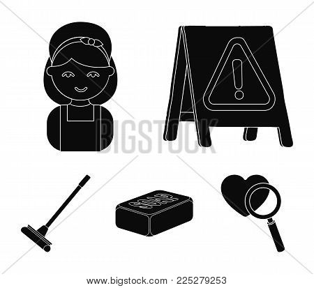 Cleaning and maid black icons in set collection for design. Equipment for cleaning vector symbol stock  illustration.