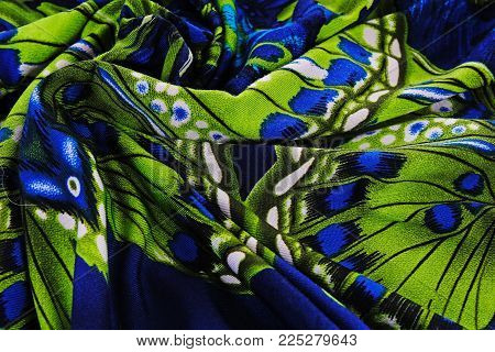 Fashion painted silk macro photo. Fabric material.