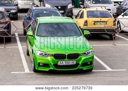 Kiev, Ukraine - October 20, 2017: BMW M3 F80 , a high-performance version of BMW 3-series tuned by BMW's M division and the successor of the highly successful E90 M3 .