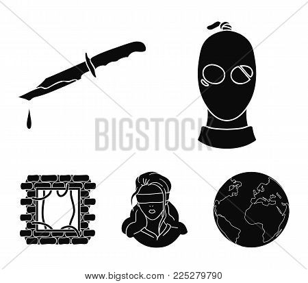 A thief in a mask, a bloody knife, a hostage, an escape from prison.Crime set collection icons in black style vector symbol stock illustration .