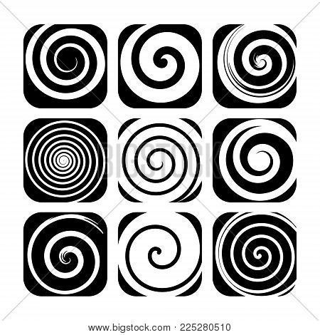Set of spiral motion elements, black isolated objects, different brush texture. bstract vector illustrations.