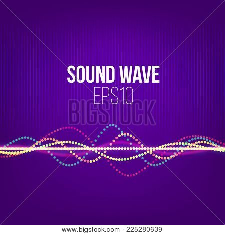 Sound wave vector abstract background. Particles and dots on ultra violet backdrop for cover or presentation. Technology music signal banner