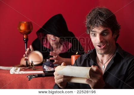 Silly Happy Man With Scroll